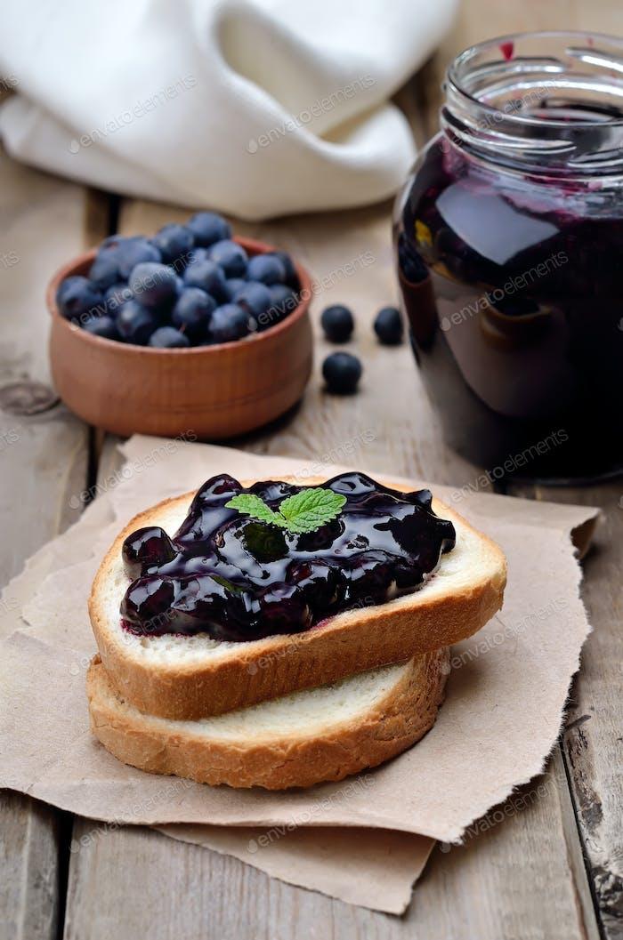 Blueberry jam on toast bread