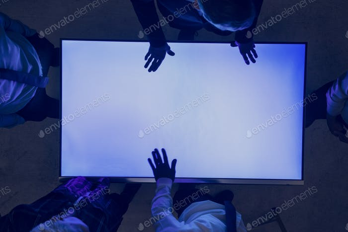 Hands on a blank cyber space table