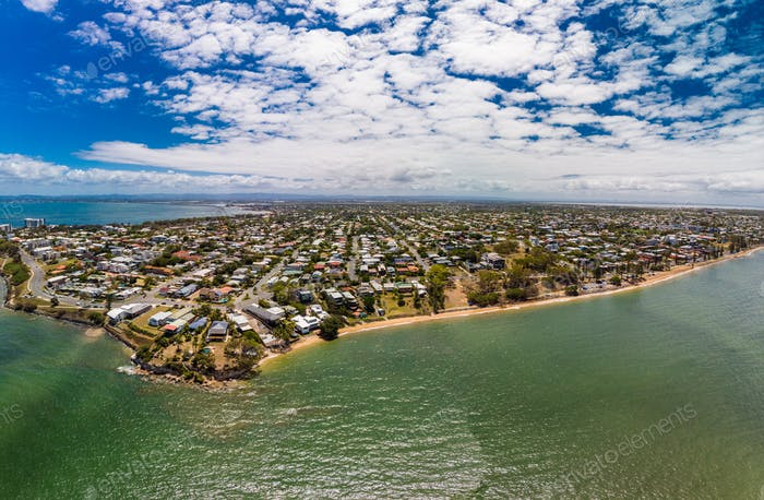 Aerial drone view of Suttons Beach, Redcliffe, Australia