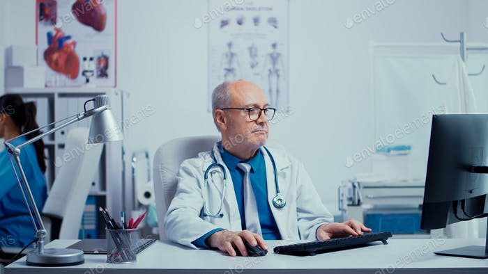 Working in modern private clinic
