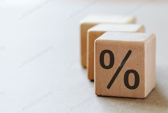 A dices with percent symbol with copy space