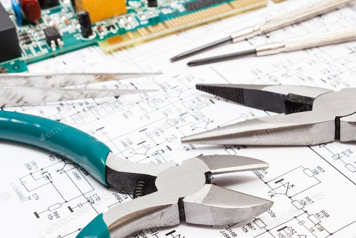 Printed circuit board, precision tools and diagram of electronics. Technology