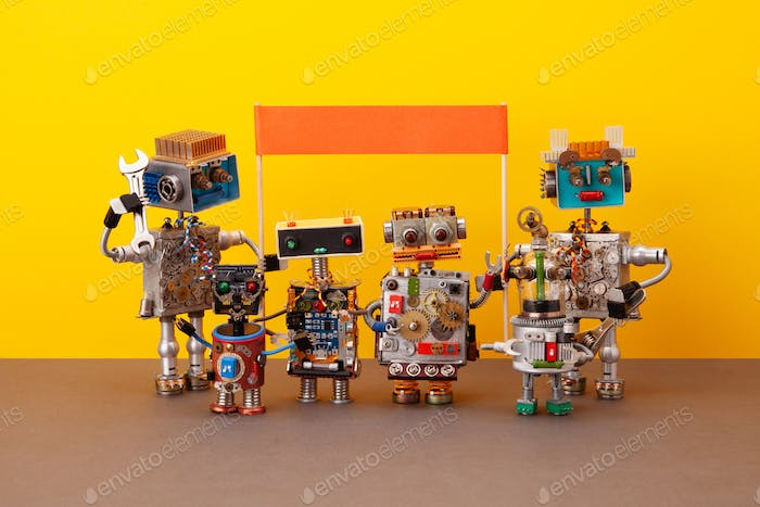 Manifestation robots or meeting, rally to protect democratic rights, interests