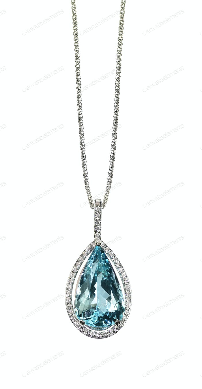 Blue Topaz Diamond drop pear shape gemstone halo necklace on a chain