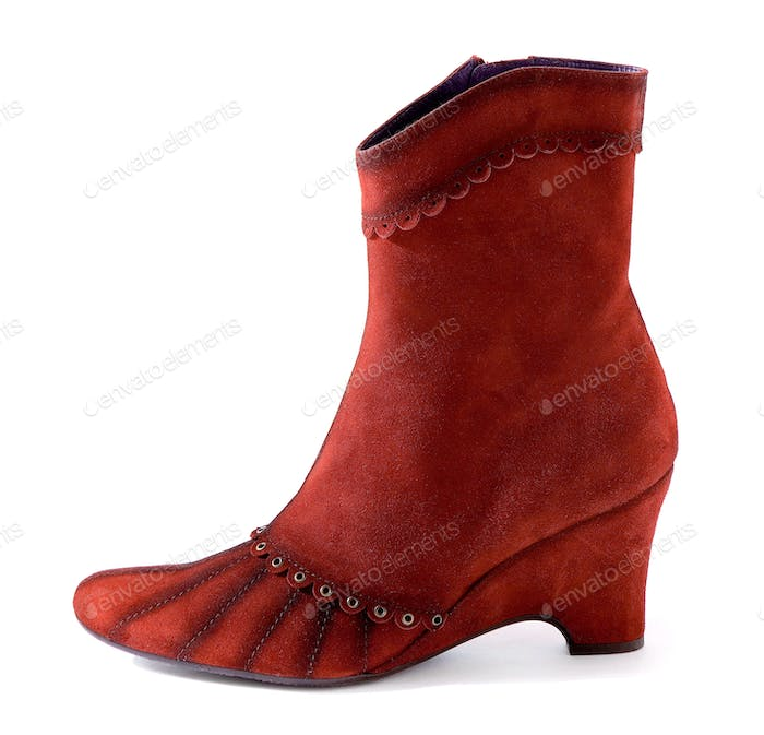 Romantic red suede high heel boot