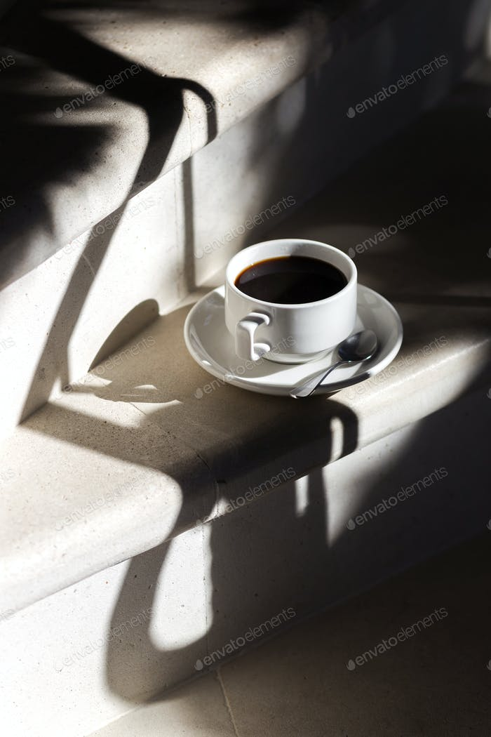 Black aroma coffe in morning light