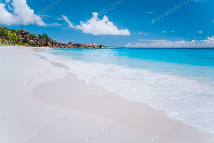Grand Anse long sandy beach at La Digue island, Seychelles. Holiday vacation travel destination