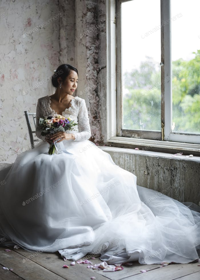 Asian Bride Holding Flower Bouquet Wedding Engagement Ceremony