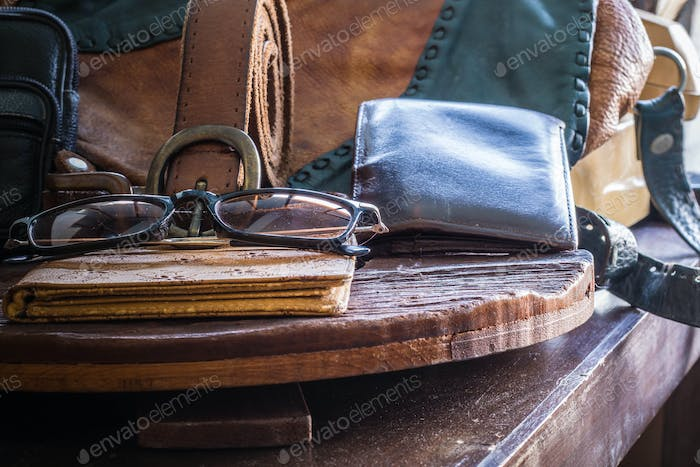 Leather and accessories on a table