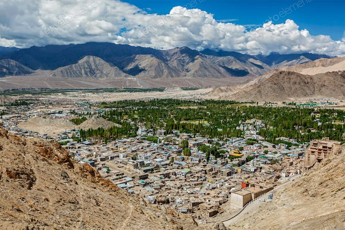 Aerial view of Leh. Ladakh, India