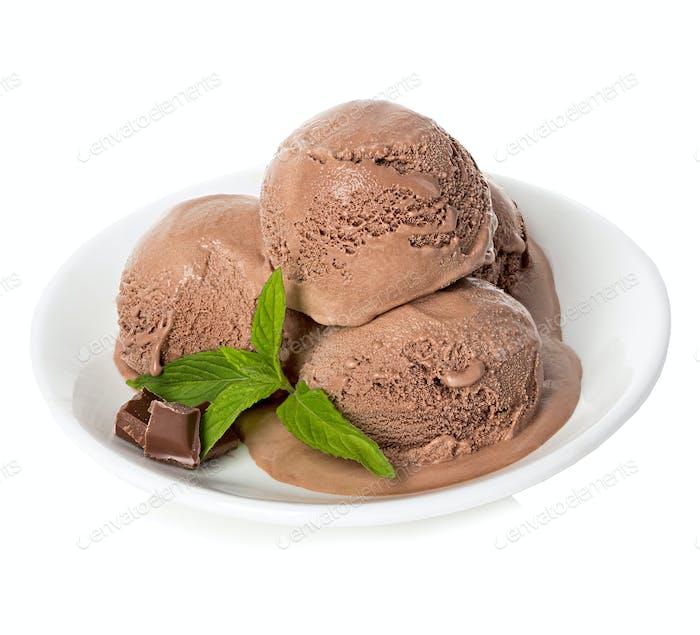 Chocolate ice cream isolated