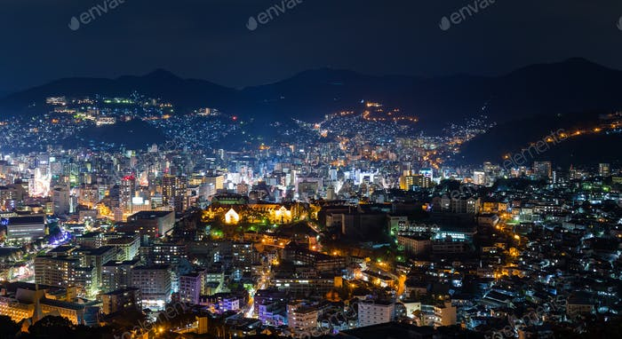 Nagasaki cityscape in Japan at night