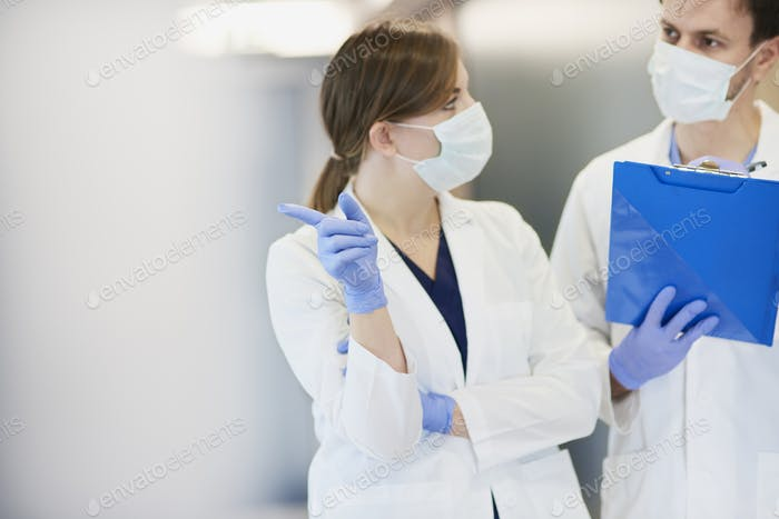 Inspection of two doctors in hospital