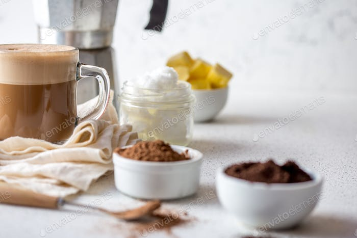 Ketogenic Keto Diet Drink. Coffe and Cacao Blended with Coconut Oil