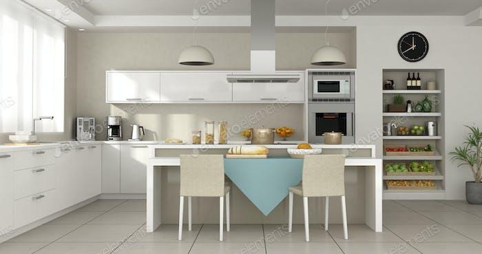 Minimalist white kitchen with island - 3d rendering