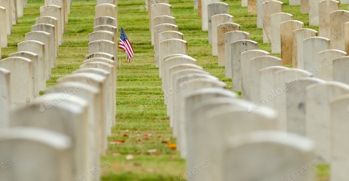 American flag planted in veterans cemetery