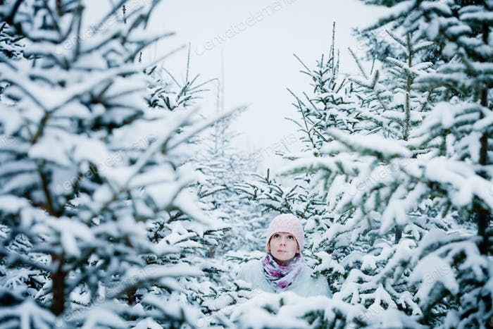 Lost Woman in Forest After Snowstorm