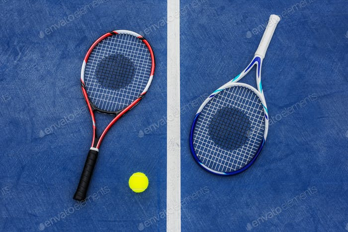 Tennis rackets and ball
