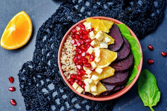 Quinoa spinach beet orange garnet blue cheese salad