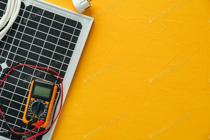 Alternative energy solar power panel close up