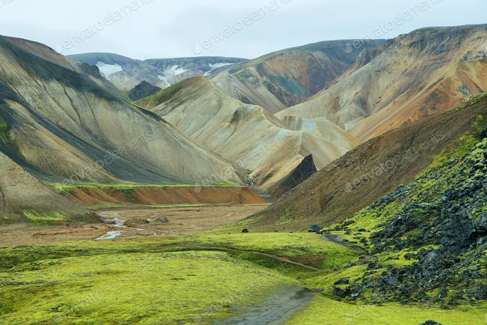 Multicolored mountains at Landmannalaugar