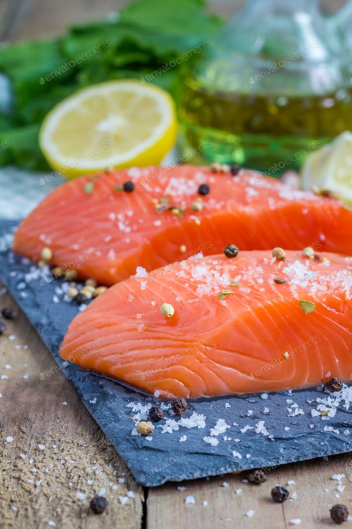 Fresh raw salmon fillet with seasonings