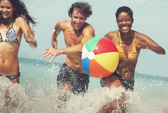 Beach Ball Sunshine Vacation Tropical Summer Concept