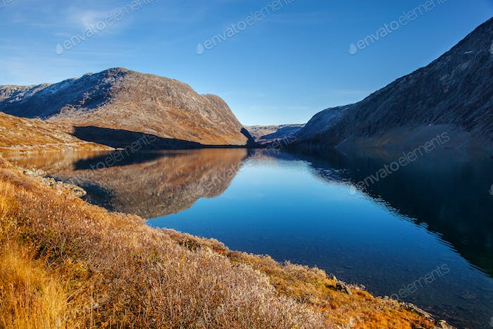 view on Djupvatnet lake in Norway