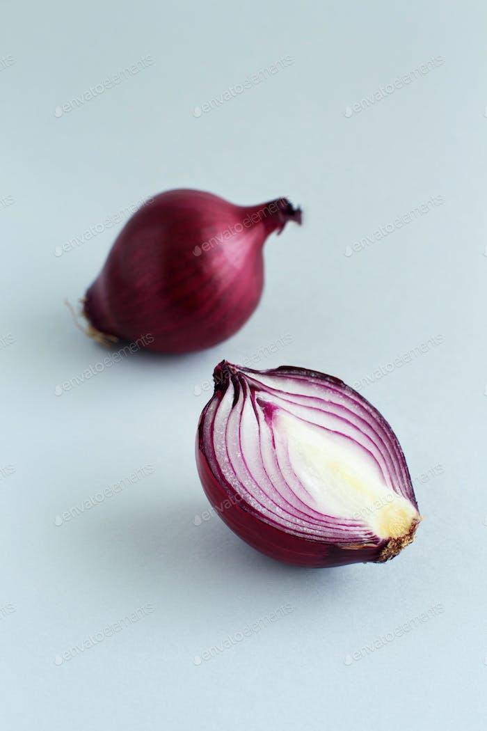 Purple onion on a light grey background