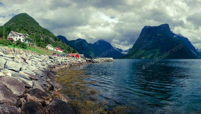 Urke village and Hjorundfjorden fjord