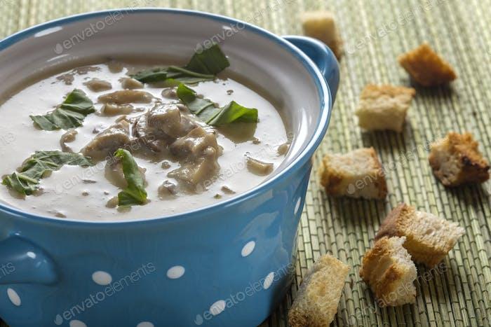 Mushroom cream soup in ceramic bowl
