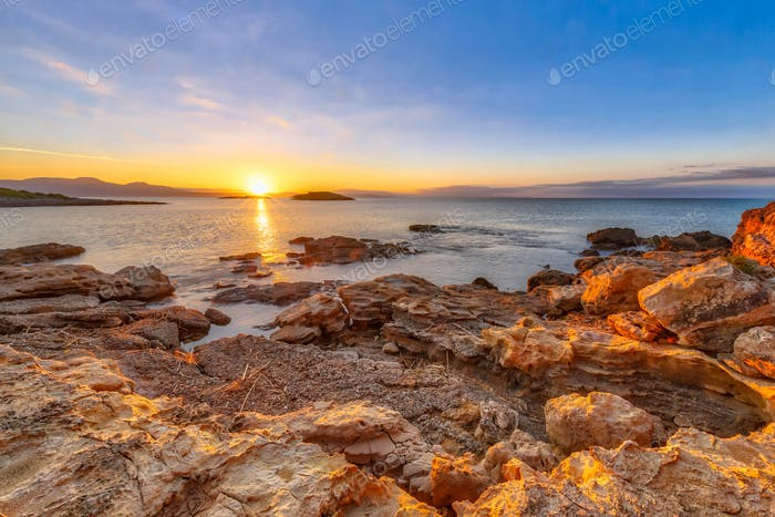 Peloponnese coast red rocks sunrise