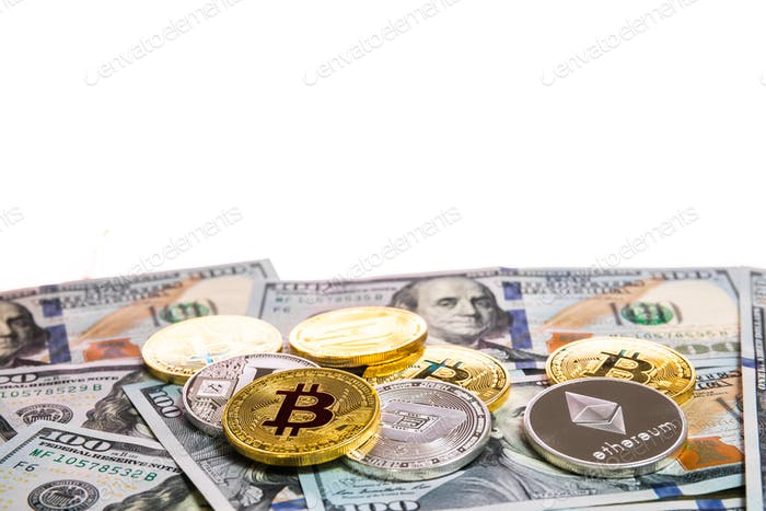 Symbolic coins of bitcoin on banknotes of one hundred dollars