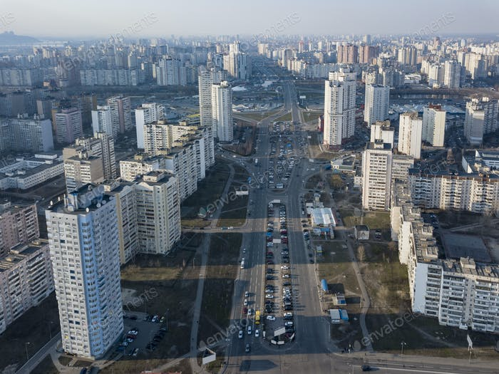 A bird's eye view from drone to the Darnyts'kyi district of Kiev, Ukraine with modern