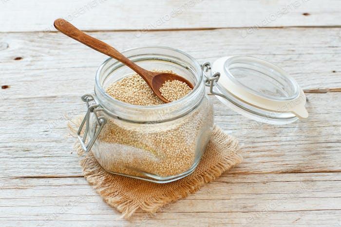 Uncooked  quinoa grain in a glass