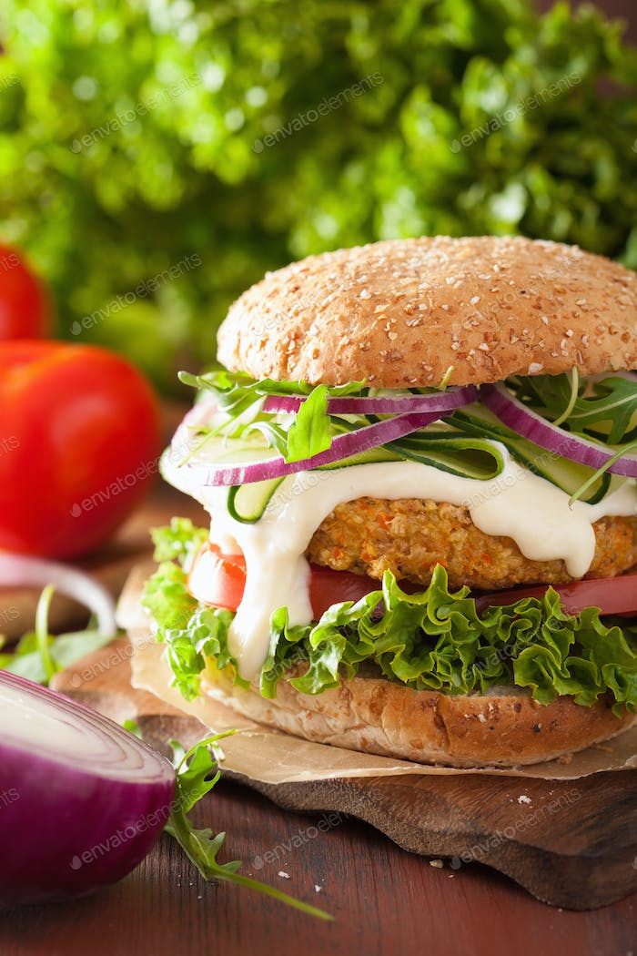 veggie carrot and oats burger with cucumber onion