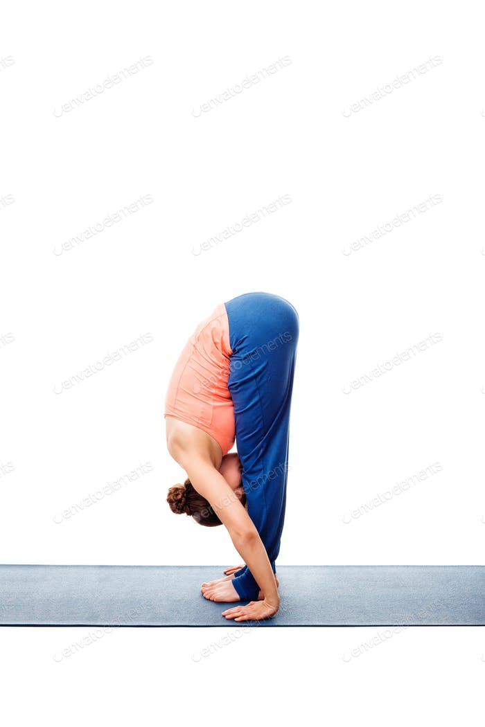 Woman doing Ashtanga Vinyasa Yoga Surya Namaskar Sun Salutation