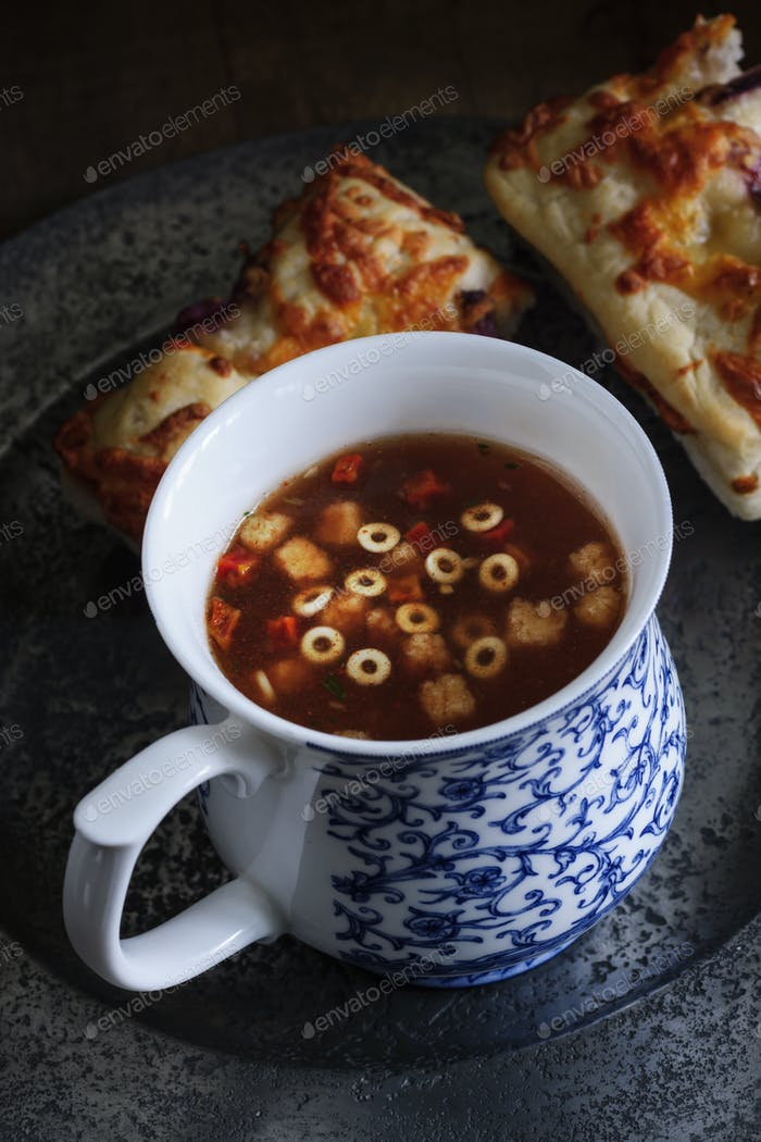 Minestrone Soup and Focaccia Bread