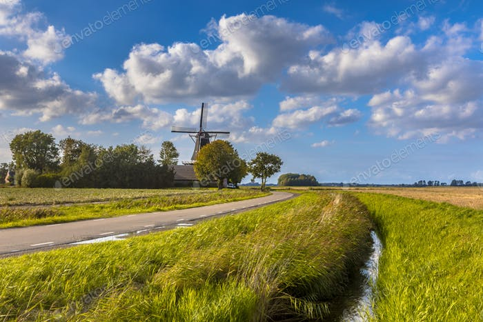 Typical dutch landscape windmill
