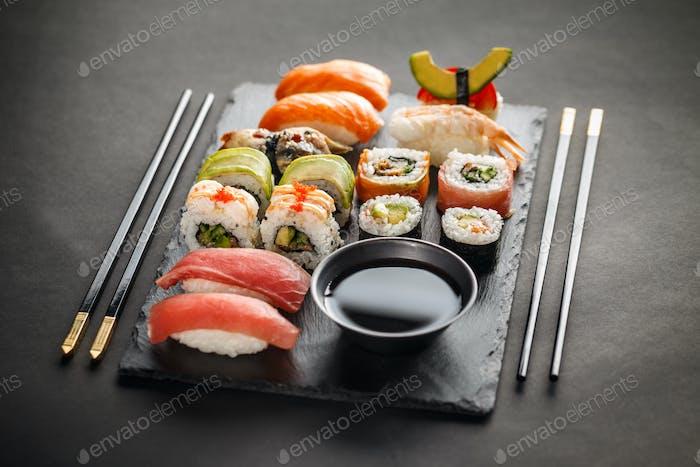 Sashimi, maki and nigiri sushi