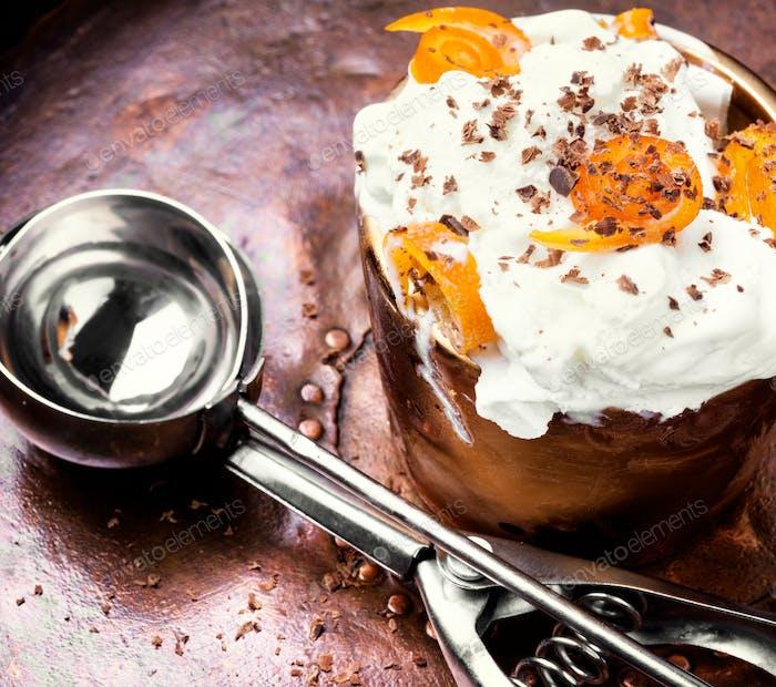 Delicious orange icecream
