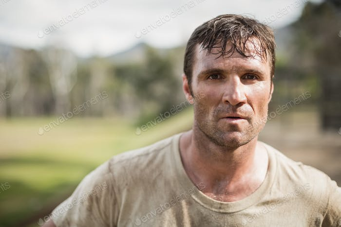 Thumbnail for Military man standing during obstacle course in boot camp