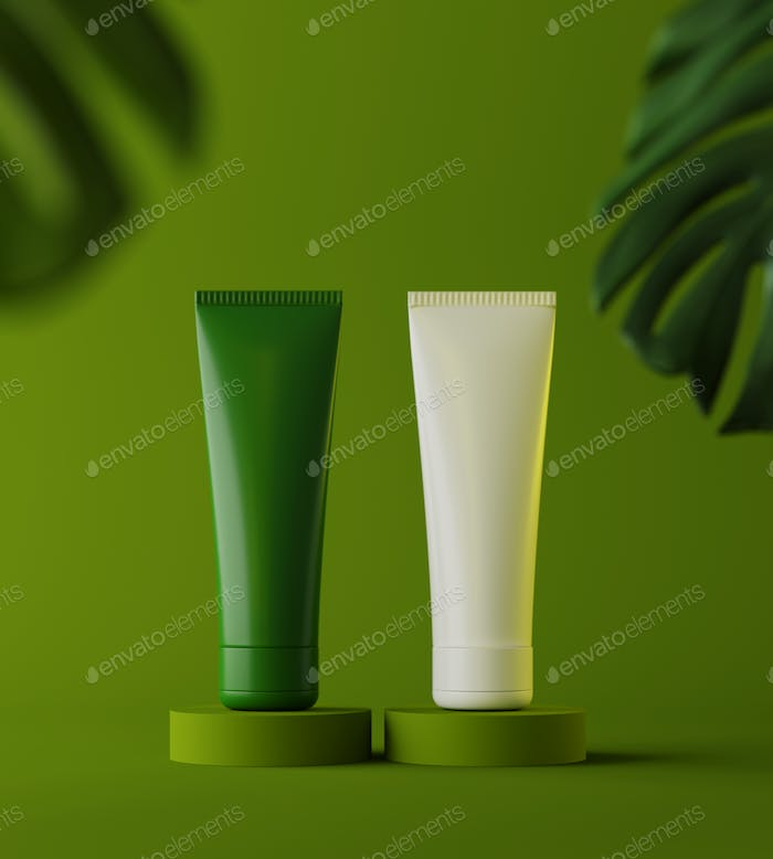 Design of natural cosmetic cream , serum, skincare blank bottle packaging with leaves herb, bio