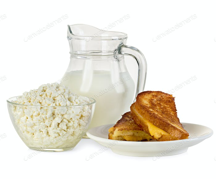 Cottage cheese, jug of milk and a sandwich isolated.