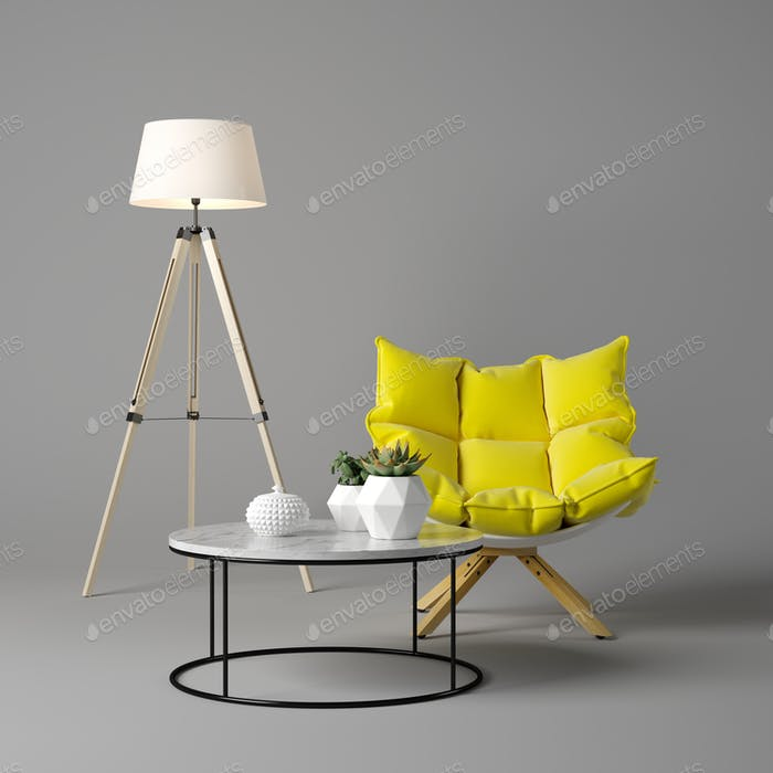 Interior of modern living room with armchair and furniture 3D rendering