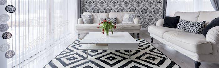 Schwarz-Weiß-Wohnzimmer