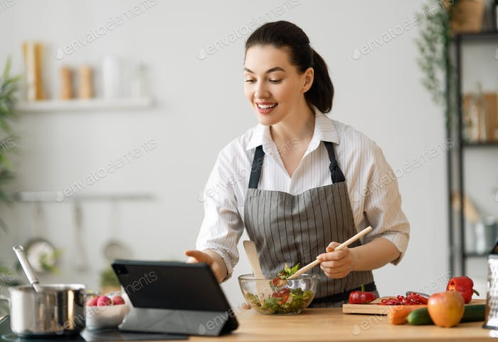 woman is preparing the proper meal