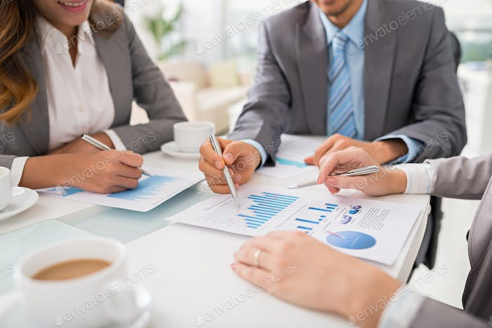 Business executives discussing work