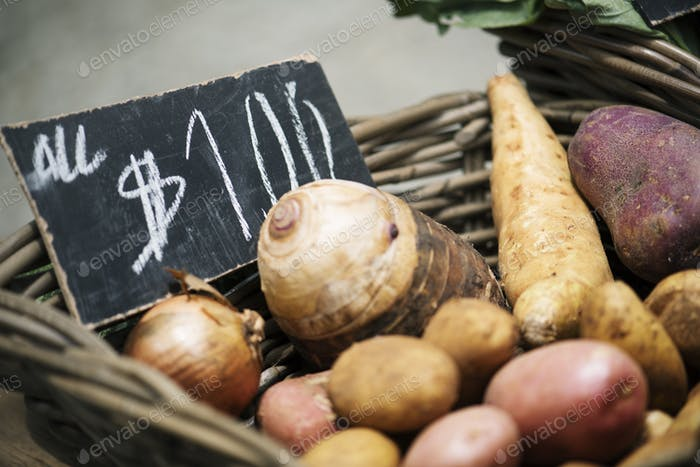 Closeup of fresh organic potatoes on sell