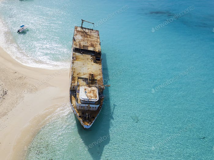 Aerial view of shipwreck in Grand Turk island.